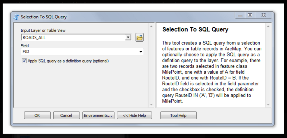 Selction to SQL Query